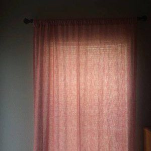 Coral and Off-White Coordinating Curtain Panels